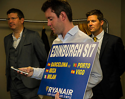 Pictured: Michael O'Leary needed a reminder of the new routes to come on stream next year.<br /> Ryanair chief executive Michael O'Leary was on a whistle stop tour of Scotland to announce new routes from 2017. After visiting Glasgow he head to the capital to speak to the media. It was fair to say that he is no fan of the Brexit vote.<br /> <br /> Ger Harley | EEm Date