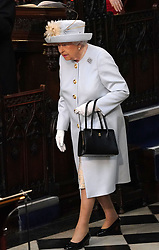 Queen Elizabeth II arrives ahead of the wedding of Princess Eugenie to Jack Brooksbank at St George's Chapel in Windsor Castle.