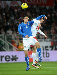 11.11.2011, Miejski Stadion Sportowy, Breslau, POL, FSP, Polen (POL) vs Italien (ITA), im Bild GIORGIO CHELLINI ROBERT LEWANDOWSKI  // during the international friendlies football match, between Poland (POL) and Italy (ITA) at Miejski Stadium Sportowy, Breslau, Poland on 11/11/2011. EXPA Pictures © 2011, PhotoCredit: EXPA/ Newspix/ Norbert Barczyk..***** ATTENTION - for AUT, SLO, CRO, SRB, SUI and SWE only *****