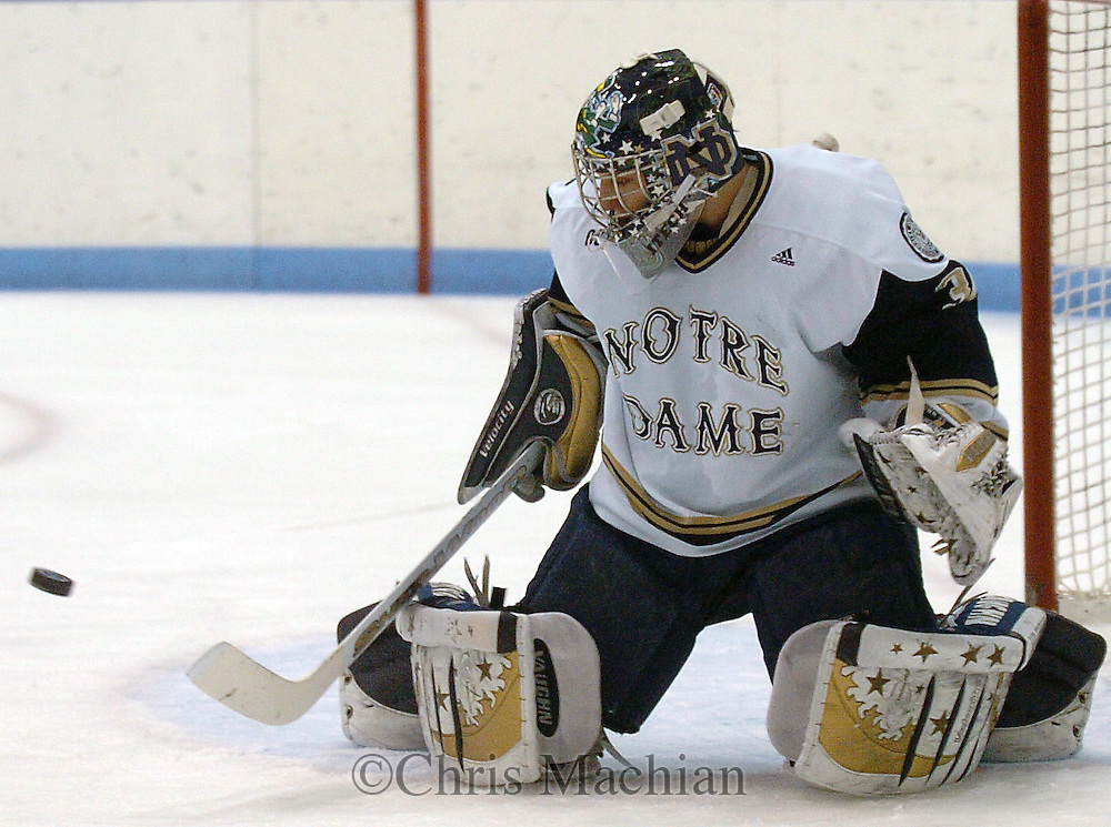 2/9/07 Omaha , IN   University of Notre Dame goalie David Brown at the Joyce Center.(Chris Machian/Prairie Pixel Group)..