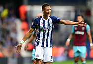 Kieran Gibbs of West Bromwich Albion argues with the referee. Premier league match, West Bromwich Albion v West Ham United at the Hawthorns stadium in West Bromwich, Midlands on Saturday 16th September 2017. pic by Bradley Collyer, Andrew Orchard sports photography.