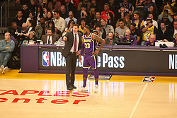 February 27, 2019 - Los Angeles, CA, U.S. - LOS ANGELES, CA - FEBRUARY 27: Lakers coach Luke Walton speaks to Los Angeles Lakers Forward LeBron James (23) during the first half of the New Orleans Pelicans versus Los Angeles Lakers game on February 27, 2019, at Staples Center in Los Angeles, CA. (Photo by Icon Sportswire) (Credit Image: © Icon Sportswire/Icon SMI via ZUMA Press)