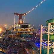 Carnival Glory Cruising Ship Empty Deck In Miami Port