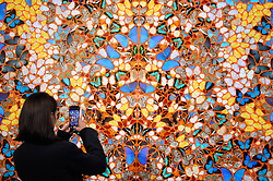 © Licensed to London News Pictures. 07/02/2020. LONDON, UK. A visitor views ''Compassion'' by Damien Hirst, (Est. £600,000 - 800,000). Preview of Sotheby's Contemporary Art Sale in their New Bond Street galleries.  Works by artists including Francis Bacon, Yves Klein, Jean-Michel Basquiat and David Hockney will be offered for auction on 11 February 2020.  Photo credit: Stephen Chung/LNP