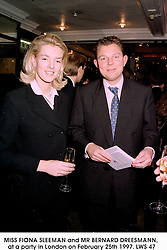 MISS FIONA SLEEMAN and MR BERNARD DREESMANN, at a party in London on February 25th 1997.LWS 47