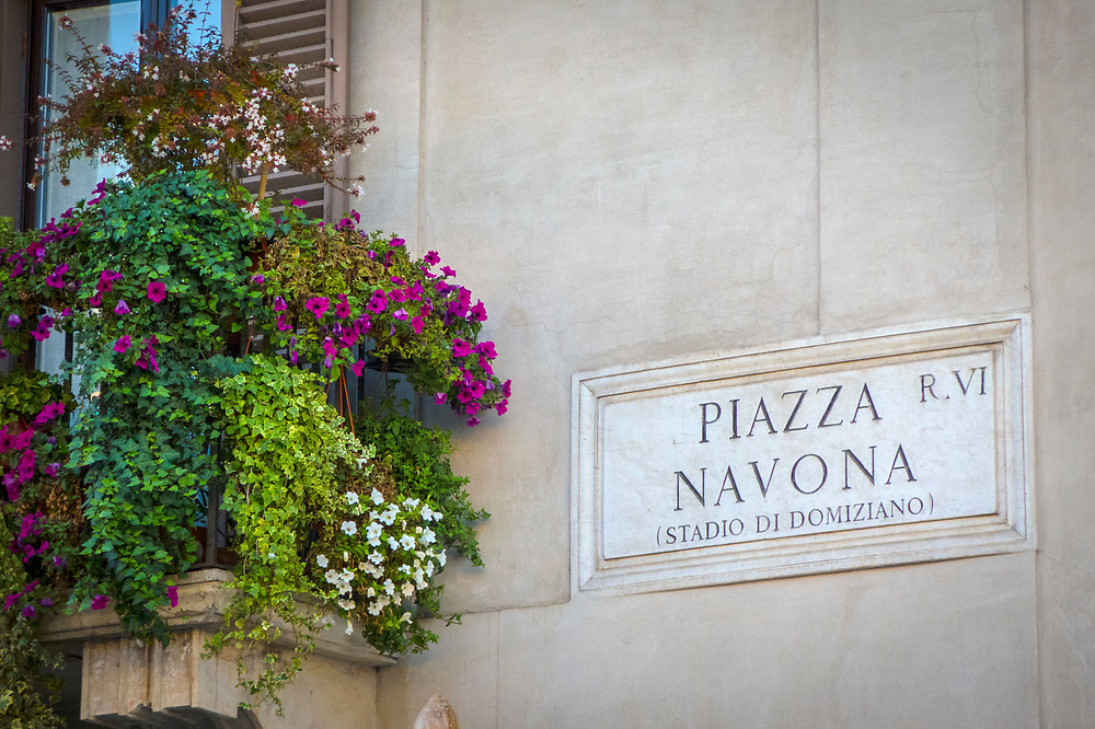 Sign in the famous Rome plaza or town square, the Piazza Navona