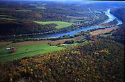 Susquehanna River north branch, Aerial, US route #6. Susquehanna County, PA