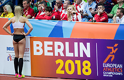 Ivona Dadic of Austria with her coach during  the Pentathlon High Jump Women on day one of the 2017 European Athletics Indoor Championships at the Kombank Arena on March 3, 2017 in Belgrade, Serbia. Photo by Vid Ponikvar / Sportida