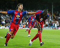 Photo: Chris Ratcliffe.<br /> Crystal Palace v Southend United. Coca Cola Championship. 08/08/2006.<br /> Leon Cort (R) of Palace celebrating scoring the first Palace goal to make it 1-1 with Carl Fletcher (L).
