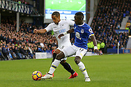 Wayne Routledge of Swansea City is tackled by Idrissa Gueye of Everton. Premier league match, Everton v Swansea city at Goodison Park in Liverpool, Merseyside on Saturday 19th November 2016.<br /> pic by Chris Stading, Andrew Orchard sports photography.