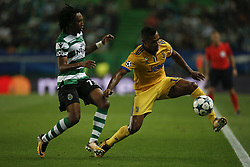 October 31, 2017 - Lisbon, Portugal - Sporting's forward Gelson Martins  (L) vies for the ball with Juventus's defender Alex Sandro (R)  during Champions League 2017/18 match between Sporting CP vs Juventus FC, in Lisbon, on October 31, 2017. (Credit Image: © Carlos Palma/NurPhoto via ZUMA Press)