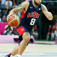 06 August 2012: USA Deron Williams dribbles during 126-97 Team USA victory over Team Argentina, during the men's basketball preliminary, at the Basketball Arena, in London, Great Britain.