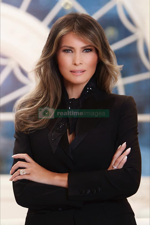 April 3, 2017 - Washington, DC, United States of America - U.S. First Lady Melania Trump official portrait released by the White House April 3, 2017 in Washington, D.C. The 46-year-old former professional model is seen wearing a black ensemble and striking an assertive pose. (Credit Image: © Regine Mahaux/Planet Pix via ZUMA Wire)