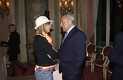 Countess Maya von Schonburg and Taki Theodocopulos, , Annabel, An Unconventional Life. Memoirs of Lady Annable goildsmith. The Ritz. 10 March 2004. ONE TIME USE ONLY - DO NOT ARCHIVE  © Copyright Photograph by Dafydd Jones 66 Stockwell Park Rd. London SW9 0DA Tel 020 7733 0108 www.dafjones.com