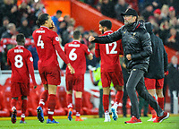 Liverpool manager Jürgen Klopp celebrates victory<br /> <br /> Photographer Alex Dodd/CameraSport<br /> <br /> The Premier League - Liverpool v Huddersfield Town - Friday 26th April 2019 - Anfield - Liverpool<br /> <br /> World Copyright © 2019 CameraSport. All rights reserved. 43 Linden Ave. Countesthorpe. Leicester. England. LE8 5PG - Tel: +44 (0) 116 277 4147 - admin@camerasport.com - www.camerasport.com