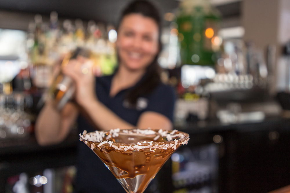 Bartender, Jill Houle creates a Chocolate Coconut Martini which features Van Gogh Chocolate Vodka, Tuaca, Kahlua, coconut cream, and chocolate sauce at The Boathouse restaurant located at 31 Alvord Street in South Hadley on February 21, 2019. (Chris Marion / The Republican)