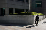 A businessman checks messages while walking past an City garden of bushes and shrubs. The corner of urban landscape - of concrete and stone slabs - also features this area of greenery, carefully landscaped inside a wall. The male figure has passed-by and continues walking towards sunshine, his shadow behind and his small briefcase in his left hand. This is the capital's financial heart - the City of London, known as the Square Mile, founded by the Romans in AD43.