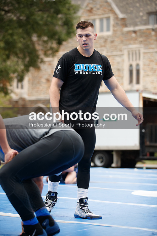 """2018 September 10: Duke Wrestling during the """"Grapple at the Chapel"""" in front of Duke Chapel in Durham, NC."""
