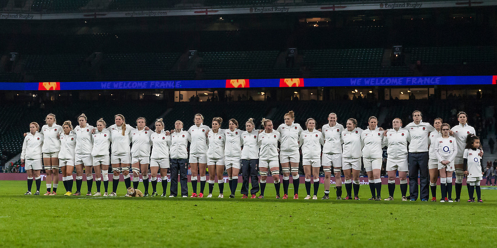 The team line up for the National Anthems, England Women v France Women in a 6 Nations match at Twickenham Stadium, London, England, on 4th February 2017 Final Score 26-13.