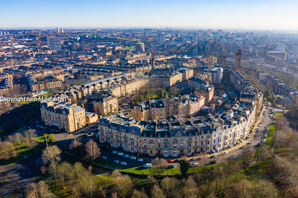 Aerial view of townhouses and Park Circus in the Park District above Kelvingrove Park in West End of Glasgow, Scotland , UK