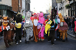 © Licensed to London News Pictures. 11/12/2016. London, UK. The London Pantomime Horse Race takes place in Greenwich, London on Sunday, 11 December 2016. Costumed Pantomime horses take part in comedy race through the streets of Greenwich to raise money for charity. Photo credit: Tolga Akmen/LNP