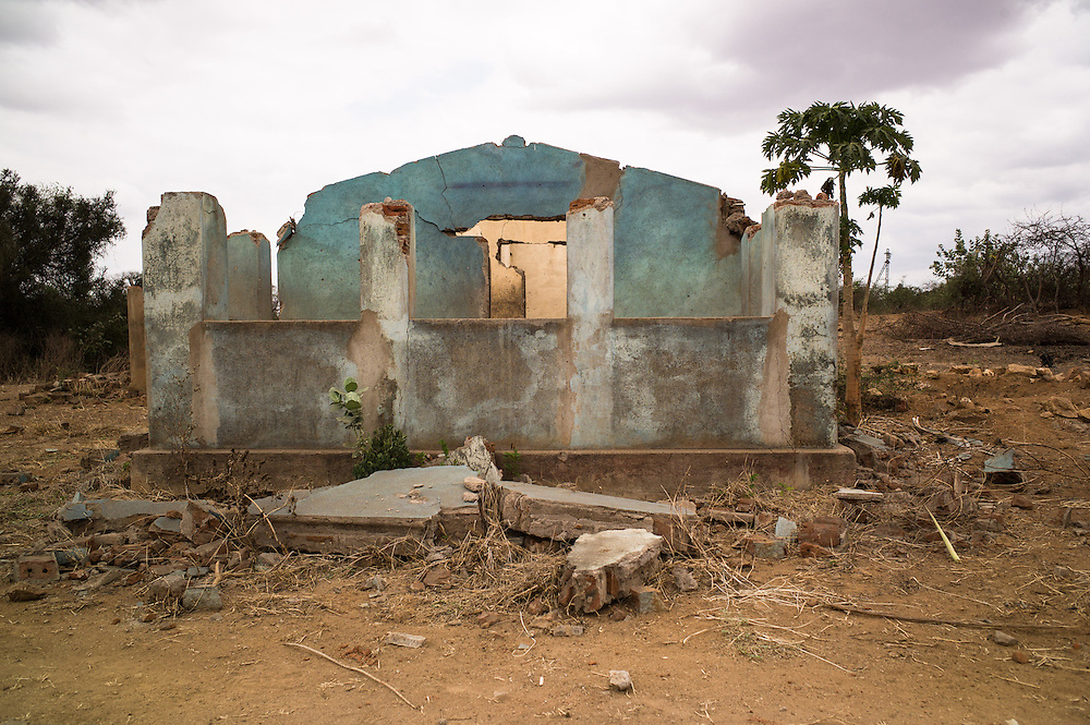 Chipanga, Tete Province, Mozambique. The remains of demolished houses. Over 700 families from four villages, were resettled to 25 do Septembro and Cateme to make way for the exploitation of coal in the Moatize region by Brazilian energy company Vale.