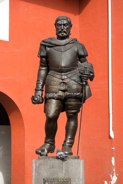Statue of Spanish conquistador Sebastian de Belalcazar in Quito, Ecuador, South America