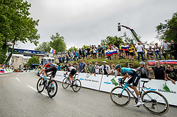 Matej MOHORIC of BAHRAIN VICTORIOUS, Diego ULISSI of UAE TEAM EMIRATES and Matteo SOBRERO of ASTANA - PREMIER TECH at finish line during 2nd Stage of 27th Tour of Slovenia 2021 cycling race between Zalec and Celje (147 km), on June 10, 2021 in Slovenia. Photo by Vid Ponikvar / Sportida