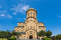 Tbilisi , Georgia - August 25, 2019 : Holy Trinity Cathedral church landmark of Tbilisi Georgia capital city eastern Europe