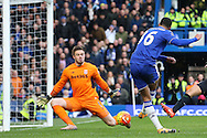 Ruben Loftus-Cheek of Chelsea takes a shot at goal but sees it saved by Goalkeeper Jack Butland of Stoke City. Barclays Premier league match, Chelsea v Stoke city at Stamford Bridge in London on Saturday 5th March 2016.<br /> pic by John Patrick Fletcher, Andrew Orchard sports photography.