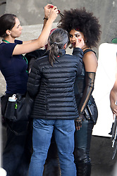 Ryan Reynolds joins Zazie Beetz back on set filming action scenes for Deadpool 2. Ryan was seen in-between takes wearing the deadpool costume with no mask on and sunglasses. Ryan chatted to Zazie Beetz as she arrived on set and prepared for filming as other cast including Colossus was seen filming in downtown Vancouver. Deadpool 2 production had been on hold while the investigation into a fatality on set involving a stunt woman for Zazie Beetz. 16 Aug 2017 Pictured: Zazie Beetz. Photo credit: Atlantic Images/ MEGA TheMegaAgency.com +1 888 505 6342