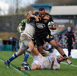 Sailosi Tagicakibau of Wasps is tackled close to the Castres line - Photo mandatory by-line: Patrick Khachfe/JMP - Mobile: 07966 386802 14/12/2014 - SPORT - RUGBY UNION - High Wycombe - Adams Park - Wasps v Castres Olympique - European Rugby Champions Cup