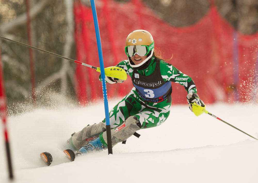 Sara Kikut of Dartmouth College, skis during the first run of the women's slalom at the Colby College Carnival at Sugarloaf Mountain on January 18, 2014 in Carabassett Valley, ME. (Dustin Satloff/EISA)