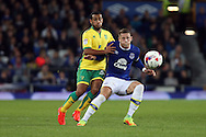 Ross Barkley of Everton shields the ball from Louis Thompson of Norwich City. EFL Cup, 3rd round match, Everton v Norwich city at Goodison Park in Liverpool, Merseyside on Tuesday 20th September 2016.<br /> pic by Chris Stading, Andrew Orchard sports photography.