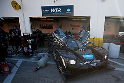 January 25, 2019 - Daytona, FL, U.S. - DAYTONA, FL - JANUARY 25: The #10 Konica Minolta Cadillac DPi-V.R. Cadillac DPi of Renger Van Der Zande, Jordan Taylor, Fernando Alonso, and Kamui Kobayashi sits in its garage stall following practice for the Rolex 24 at Daytona on January 25, 2019 at Daytona International Speedway in Daytona Beach, Fl. (Photo by David Rosenblum/Icon Sportswire) (Credit Image: © David Rosenblum/Icon SMI via ZUMA Press)