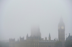 © London News Pictures. 22/10/2012. London, UK.  Fog covered Houses of Parliament in Westminster, central London on October 22, 2012 . Photo credit: Ben Cawthra/LNP