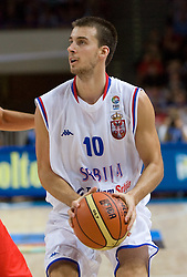 Uros Tripkovic of Serbia during the basketball match at 1st Round of Eurobasket 2009 in Group C between Spain and Serbia, on September 07, 2009 in Arena Torwar, Warsaw, Poland. (Photo by Vid Ponikvar / Sportida)