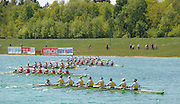 Munich, GERMANY, Women's eights final as the crews approach the finishing line on Sunday Finals Day, at the FISA World Cup Munich, held on the Olympic Rowing Course, 11/05/2008    [Mandatory Credit Peter Spurrier/ Intersport Images] Rowing Course, Olympic Regatta Rowing Course, Munich, GERMANY