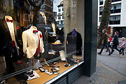 Tuxedos for sale in the shop window of Lipman and Sons on 18th February 2020 in London, England, United Kingdom. Lipman and Sons,  have been selling formal and classic menswear and suits in the city and West End, to both hire or purchase for over 75 years.