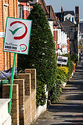 Let & For Sales signs, Duckett Road, Harringay, London, UK.