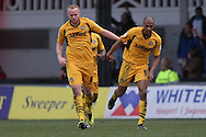 Chris Zebroski of Newport County (right) celebrates after scoring his side's injury time equaliser to make it 2-2.  Skybet football league 2 match, Newport county v Scunthorpe Utd at Rodney Parade in Newport, South Wales on Saturday 1st March 2014.<br /> pic by Mark Hawkins, Andrew Orchard sports photography.