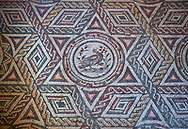 Close up picture of the Roman mosaics of The Four Seasons, room no 23 at the Villa Romana del Casale, first quarter of the 4th century AD. Sicily, Italy. A UNESCO World Heritage Site. .<br /> <br /> If you prefer to buy from our ALAMY PHOTO LIBRARY  Collection visit : https://www.alamy.com/portfolio/paul-williams-funkystock/villaromanadelcasale.html<br /> Visit our ROMAN MOSAICS  PHOTO COLLECTIONS for more photos to buy as buy as wall art prints https://funkystock.photoshelter.com/gallery/Roman-Mosaics-Roman-Mosaic-Pictures-Photos-and-Images-Fotos/G00008dLtP71H_yc/C0000q_tZnliJD08
