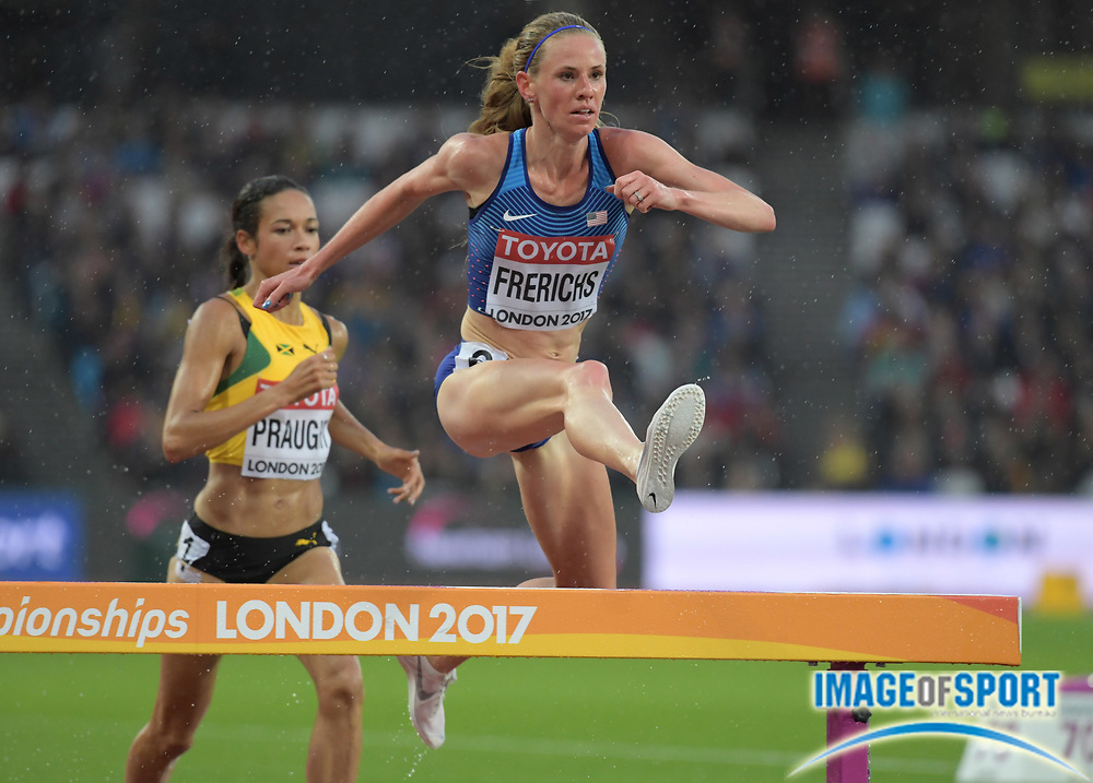 Aug 9, 2017; London, United Kingdom; Courtney Frerichs (USA) places third in women's steeplechase heat in 9:25.14 to advance to the final during the IAAF World Championships in Athletics at London Stadium at Queen Elizabeth Park.