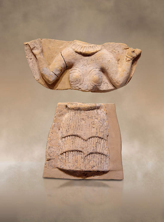 Minoan Postpalatial terracotta  goddess tablet with raised arms, Kannia Sanctuary,  Gortys, 1350-1250 BC, Heraklion Archaeological Museum. <br /> <br /> The Goddesses are crowned with symbols of earth and sky in the shapes of snakes and birds, describing attributes of the goddess as protector of nature. .<br /> <br /> If you prefer to buy from our ALAMY PHOTO LIBRARY  Collection visit : https://www.alamy.com/portfolio/paul-williams-funkystock/minoan-art-artefacts.html . Type -   Heraklion   - into the LOWER SEARCH WITHIN GALLERY box. Refine search by adding background colour, place, museum etc<br /> <br /> Visit our MINOAN ART PHOTO COLLECTIONS for more photos to download  as wall art prints https://funkystock.photoshelter.com/gallery-collection/Ancient-Minoans-Art-Artefacts-Antiquities-Historic-Places-Pictures-Images-of/C0000ricT2SU_M9w
