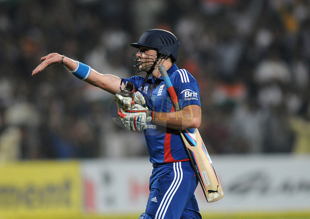 Luke Wright of England walks back after getting out during the first Airtel T20 Match between India and England held at Subrata Roy Sahara stadium in Pune on the  20th December 2012..Photo by  Pal Pillai/BCCI/SPORTZPICS .