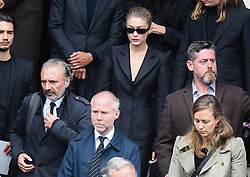 iGigi Hadid leaving the funeral service for late photographer Peter Lindbergh held at Saint Sulpice church in Paris, France on September 24, 2019. Photo by ABACAPRESS.COM