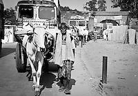 A traffic jam on the way to Varanasi, Uttar Pradesh, India