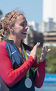 "Rio de Janeiro. BRAZIL. USA W1X Silver Medalist Gevevra  STONE  2016 Olympic Rowing Regatta. Lagoa Stadium,<br /> Copacabana,  ""Olympic Summer Games""<br /> Rodrigo de Freitas Lagoon, Lagoa.   Saturday  13/08/2016 <br /> <br /> [Mandatory Credit; Peter SPURRIER/Intersport Images]"