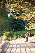 Quiet corner in Millennium Park in Chicago, IL, USA.