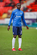 Southend United defender Elvis Bwomono (2) warms up prior to the EFL Sky Bet League 1 match between Charlton Athletic and Southend United at The Valley, London, England on 9 February 2019.